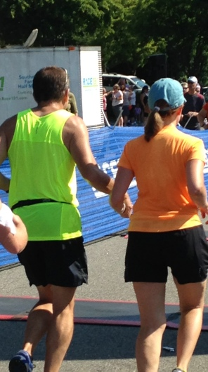 mom and dad running